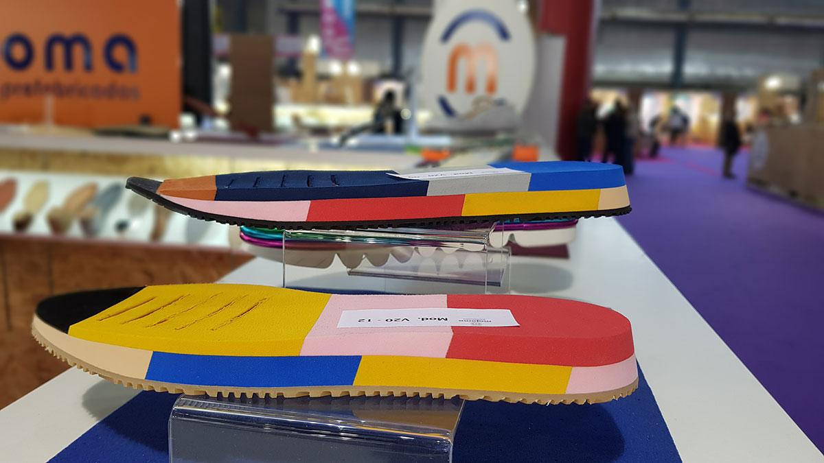 Suelas de zapatos de Prefabricados Majoma en el stand de futurmoda 2019-2020